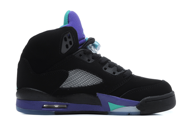 Wholesale Cheap Girls Air Jordans 5 Retro Black New Emerald-Grape Ice For Sale - www.wholesaleflyknit.com