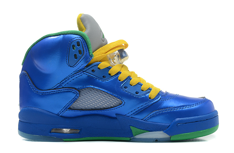 Wholesale Cheap Girls Air Jordans 5 Retro Easter Metallic Blue-Yellow Pine Green For Sale - www.wholesaleflyknit.com