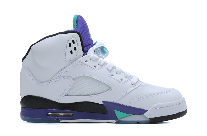 Wholesale Cheap Girls Air Jordans 5 Retro White New Emerald-Grape-Ice Blue For Sale - www.wholesaleflyknit.com