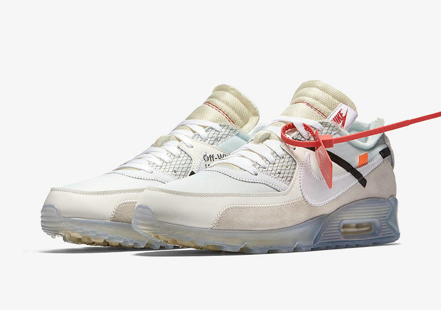 Girls OFF-WHITE x Nike Air Max 90 Sail White-MuslinAA7293-100 - www.wholesaleflyknit.com