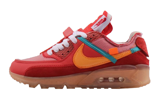 Girls Off-White x Nike Air Max 90 University Red Team Orange-Hyper Jade-Bright Mango AA7293-600 - www.wholesaleflyknit.com