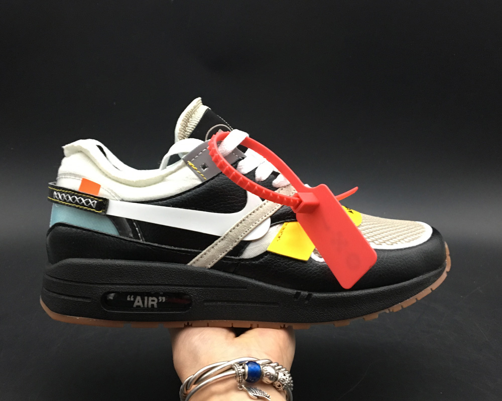 Girls Virgil Abloh x BespokeIND Create Off-White X Nike Air Max 1s Black Leather - www.wholesaleflyknit.com