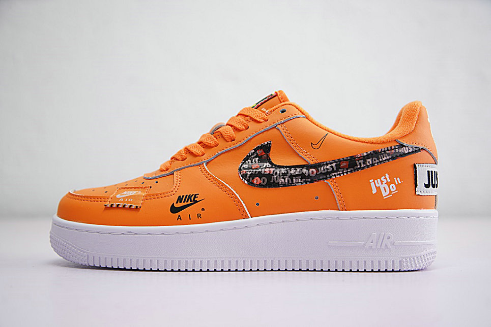 Just do it Womens Wholesale Nike Air Force 1 Low Orange Black White On www.wholesaleoffwhite.com