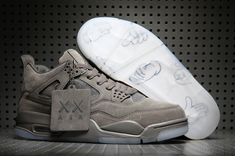 Wholesale Cheap KAWS x Air Jordan 4 Cool Grey Glow in the Dark Sole For Sale - www.wholesaleflyknit.com