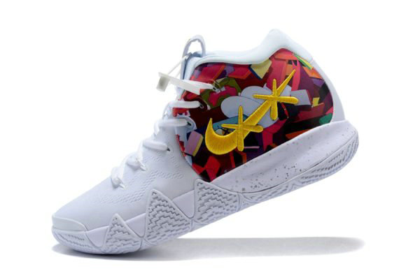 Cheap Wholesale KAWS x Nike Kyrie 4 White Multi-Color Flower Print Mens Basketball Shoes - www.wholesaleflyknit.com