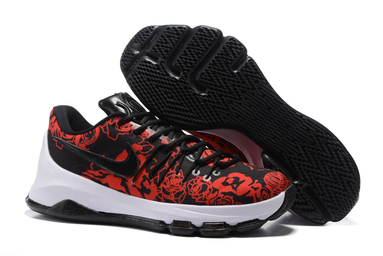 Wholesale Cheap KD 8 EXT Floral Finish Black Black-Gym Red-Summit White 2016 For Sale - www.wholesaleflyknit.com