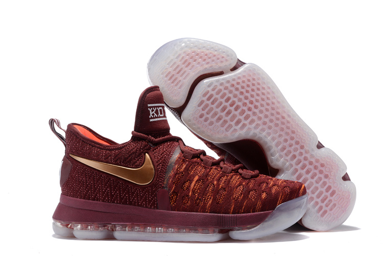 Wholesale Cheap KD 9 Christmas The Sauce Deep Burgundy Metallic Red Bronze Mens Basketball Shoes - www.wholesaleflyknit.com