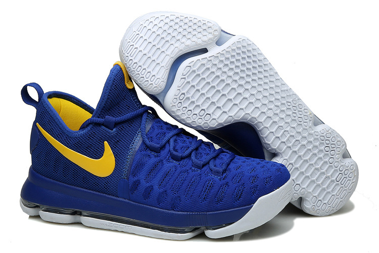 Wholesale Cheap KD 9 Golden State Warriors Blue Yellow White 2016 For Sale - www.wholesaleflyknit.com