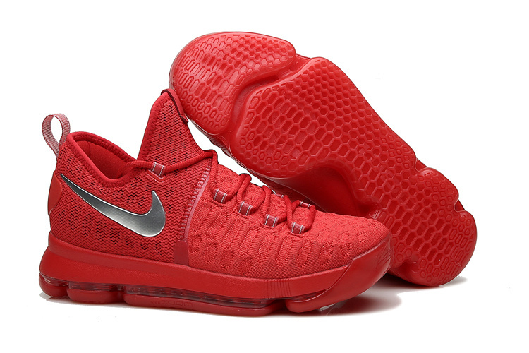 Wholesale Cheap KD 9 Sport Red Silver Basketball Shoes 2016 For Sale - www.wholesaleflyknit.com
