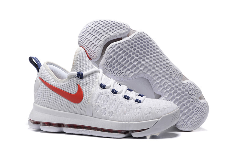 newest 98f6f e1710 Wholesale Cheap KD 9 USA White University Red-Race Blue 2016 For Sale - www