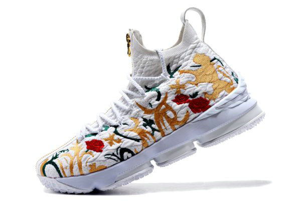 Cheap Wholesale KITH x Nike LeBron 15 Floral White Floral-Gold Mens Basketball Shoes - www.wholesaleflyknit.com