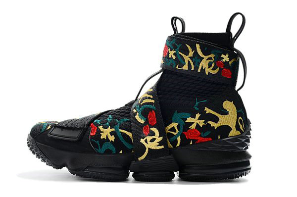 Cheap Wholesale KITH x Nike LeBron 15 Lifestyle Kings Crown Black Gold Floral Mens Basketball Shoes - www.wholesaleflyknit.com