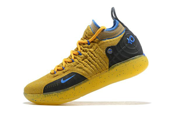 Cheap Wholesale Kevin Durants Nike KD 11 Yellow Black-Blue Shoes Free Shipping - www.wholesaleflyknit.com