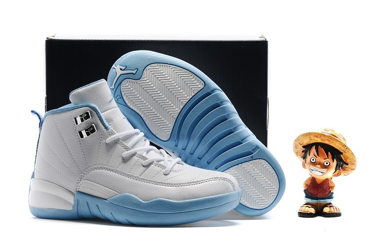 Wholesale Cheap Kids Air Jordan 12 Melo White Metallic Gold-University Blue - www.wholesaleflyknit.com