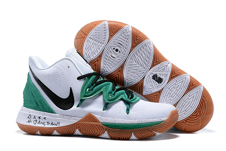 Wholesale Kyrie Irving Debuts a New Nike Kyrie 5 Celtics PE White Black Gold Green-www.wholesaleflyknit.com