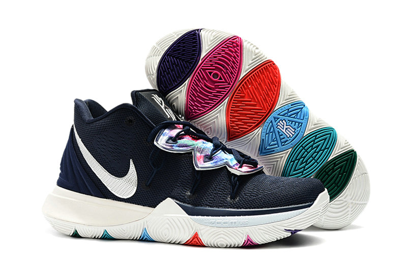 Wholesale Kyrie Irvings For Kids Nike Kyrie 5 Navy Blue White-www.wholesaleflyknit.com