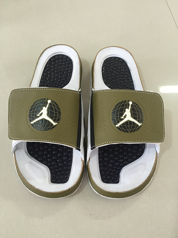 Wholesale Cheap Mens Jordan Hydro 9 Slide Sandals Militia Green White Black - www.wholesaleflyknit.com