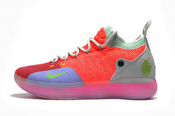 Cheap Wholesale Mens Nike KD 11 Bright Crimson Orange Wolf Grey Chlorine Blue Pink Free Shipping - www.wholesaleflyknit.com