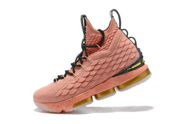 Cheap Wholesale Mens Nike LeBron 15 Hollywood All-Star Rust Pink Metallic Gold-Black 897650-600 - www.wholesaleflyknit.com