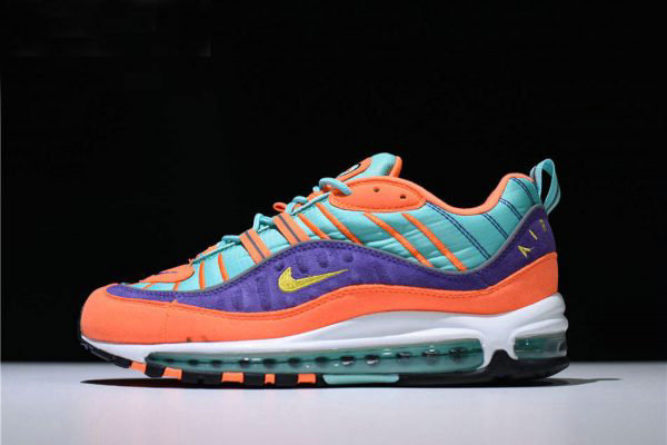 Cheap Wholesale Mens and Womens Nike Air Max 98 QS Cone Tour Yellow-Hyper Grape 924462-800 - www.wholesaleflyknit.com