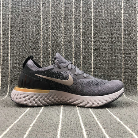 Wholesale Nike EPIC REACT FLYKNIT AQ0067-009 DEEP PURPLE ASH BLACK GREY GOLD VIOLET FONCE GRIS On www.wholesaleoffwhite.com