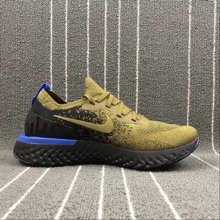 Wholesale Nike EPIC REACT FLYKNIT AQ0067-301 DEEP GREEN GOLD BLACK BLUE VERT FONCE NOIR On www.wholesaleoffwhite.com