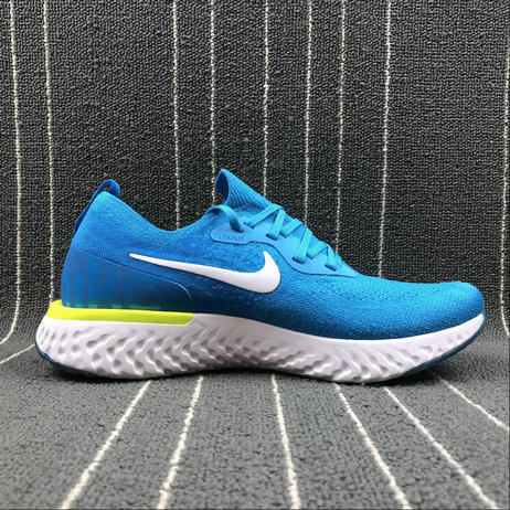 Wholesale Nike EPIC REACT FLYKNIT AQ0070-401 BLU GLWWHT PHT BLU-VLT GLW BLEU LOYAL BLANC VOLT On www.wholesaleoffwhite.com