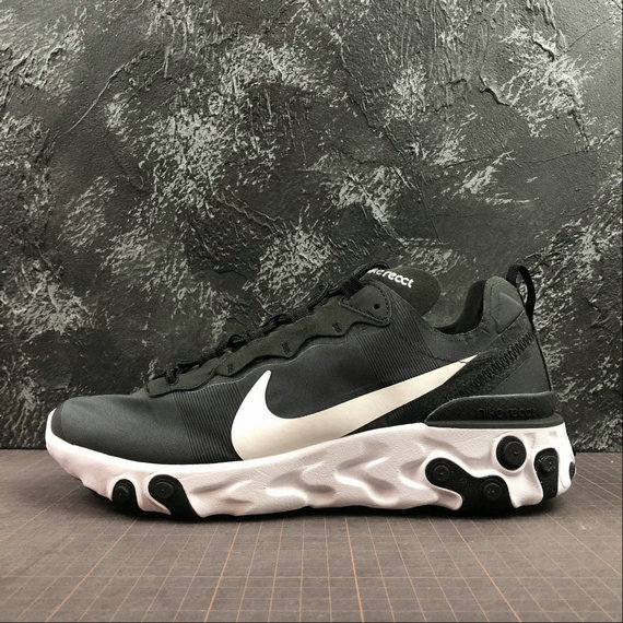 Wholesale NIKE REACT ELEMENT 55 MENS WOMENS BQ6166-003 BLACK WHITE-www.wholesaleflyknit.com
