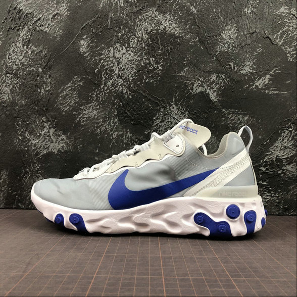 Wholesale NIKE REACT ELEMENT 55 MENS WOMENS BQ6166-005 PURE PLATINUM RACER BLUE PLATINE PUR BLEU COUREUR-www.wholesaleflyknit.com
