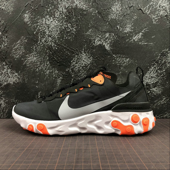 Wholesale NIKE REACT ELEMENT 55 MENS WOMENS BQ6166-006 BLACK WOLF GREY TOTAL ORANGE NOIR GRIS LOUP-www.wholesaleflyknit.com