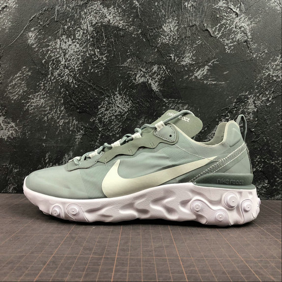 Wholesale NIKE REACT ELEMENT 55 MENS WOMENS BQ6166-300 MICA GREEN LIGHT SILVER WHITE VERT MICA BLANC ARGENT CLAIR-www.wholesaleflyknit.com