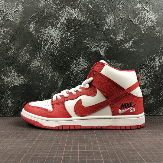 Wholesale NIKE Sb Zoom Dunk High Pro Mens 854851-661 White Red Blanc Rouge-www.wholesaleflyknit.com