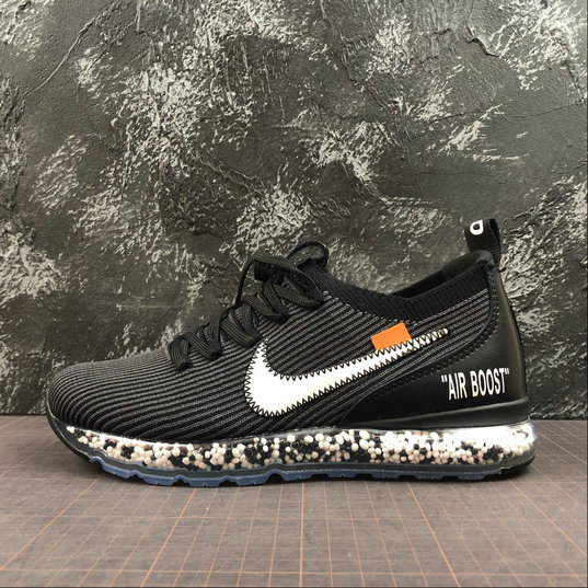 Wholesale Nike Air Boost Flyknit x Off-White Mens Womens Black White Dark Gray Noir Blanc Gris Fonce AJ6900-001-www.wholesaleflyknit.com