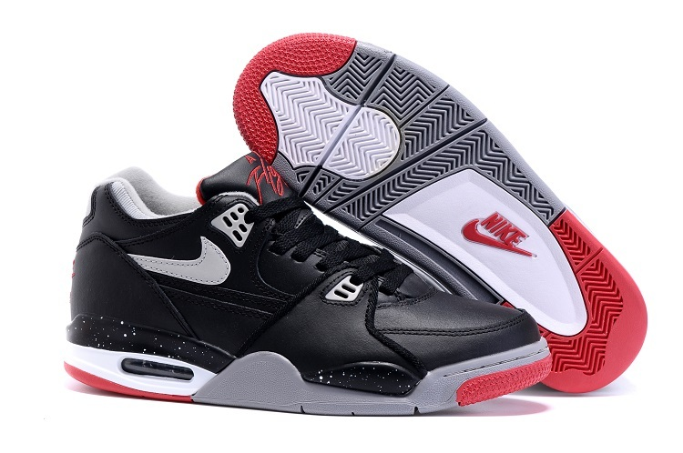 Wholesale Cheap Nike Air Flight 89 Bred Black Cement Grey-Fire Red-White Shoes For Sale - www.wholesaleflyknit.com