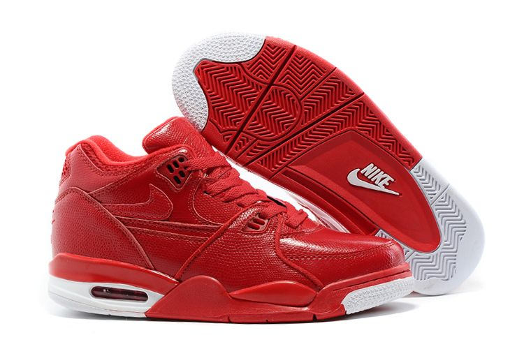 Wholesale Cheap Nike Air Flight 89 Red Leather Basketball Shoes For Sale - www.wholesaleflyknit.com