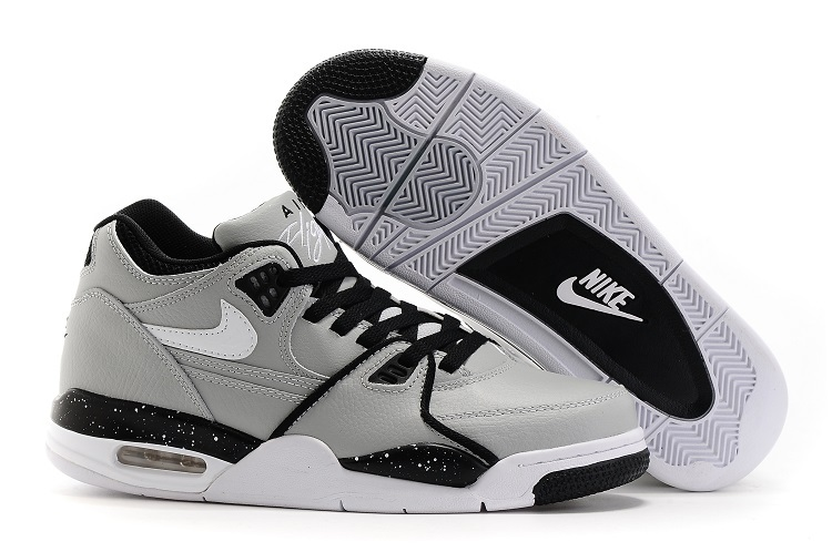 Wholesale Cheap Nike Air Flight 89 Wolf Grey Black-White Shoes For Sale - www.wholesaleflyknit.com