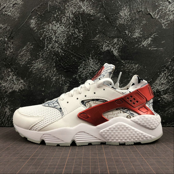 Wholesale Nike Air Huarache Run QS Mens Womens AJ5578-101 White University Red Blanc University Rouge-www.wholesaleflyknit.com