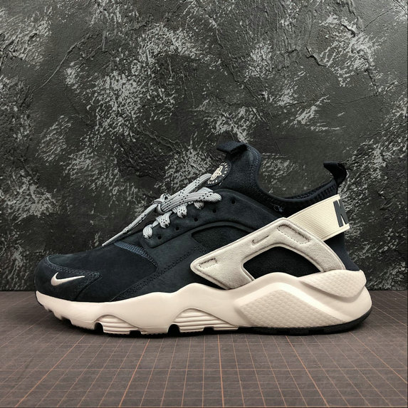 Wholesale Nike Air Huarache Run Ultra Mens Womens 829669-402 Blue Grey White Black Grey Gris Blanc-www.wholesaleflyknit.com
