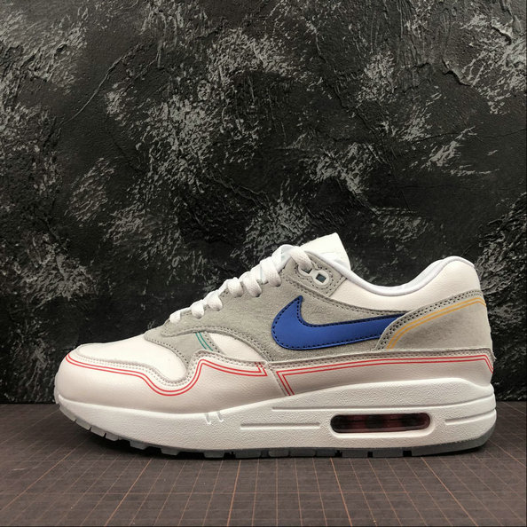 Wholesale Nike Air Max 1 Centre Pompidou Mens Womens AV3735-002 Pure Platinum Royal Blue White Platine Pur Blanc-www.wholesaleflyknit.com