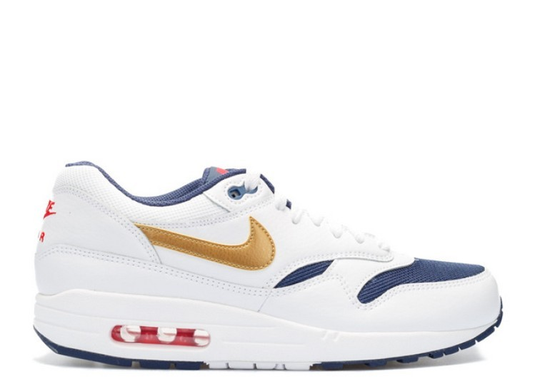 Cheap Wholesale Nike Air Max 1 Essential Mens Trainers Usa Olympic 537383-127 White Metallic Gold-Midnight Navy - www.wholesaleflyknit.com