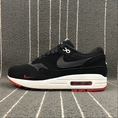 Wholesale Nike Air Max 1 PREMIUM 875844-007 Black Oil Grey University Red Noir Gris Petrole- www.wholesaleflyknit.com