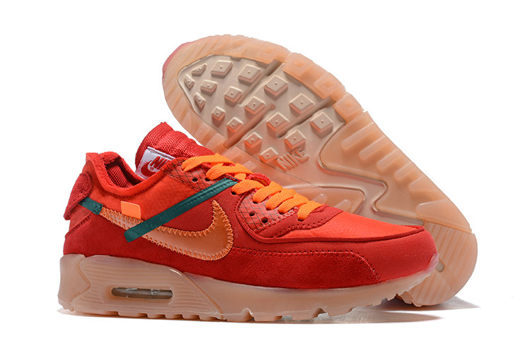 Wholesale Nike Air Max 90 x Wholesale Nike Off-White Cheap Mens Red Orange  On 409878c00