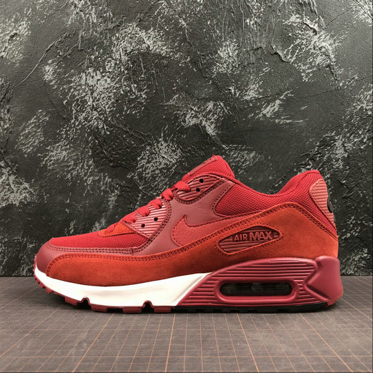 Wholesale Nike Air Max 90 Essential 537384-604 Dark Red White Rouge Blanc-www.wholesaleflyknit.com