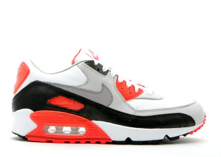 Cheap Wholesale Nike Air Max 90 Premium Infrared Ostrich 333805-101 White Cement Grey-Black-Infrared - www.wholesaleflyknit.com