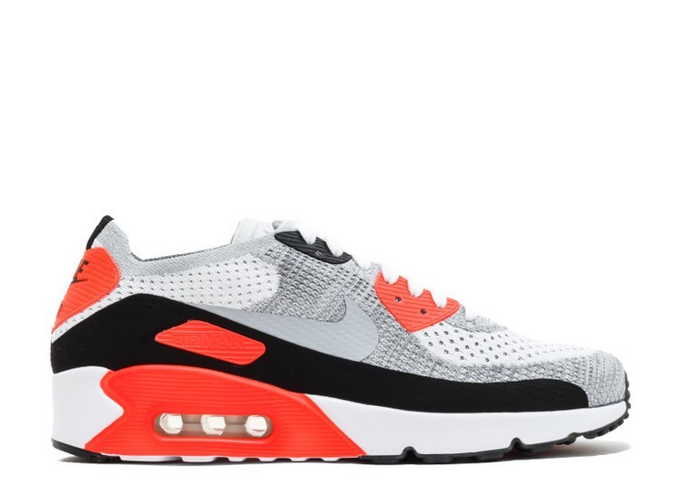 Cheap Wholesale Nike Air Max 90 Ultra 2.0 Flyknit MenS Shoe 875943-100 White Wolf Grey Bright Crimson Black - www.wholesaleflyknit.com