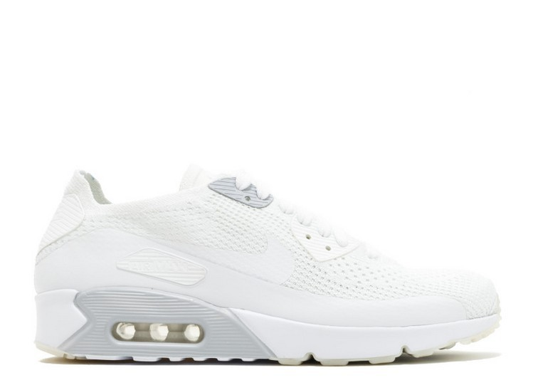 Cheap Wholesale Nike Air Max 90 Ultra 2.0 Flyknit MenS Shoe 875943-101 White White-Pure Platinum - www.wholesaleflyknit.com