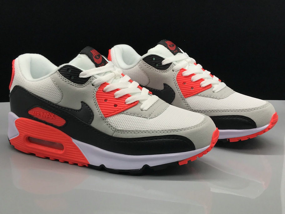 Wholesale Nike Air Max 90s Classic Red Grey White Black On www.wholesaleoffwhite.com