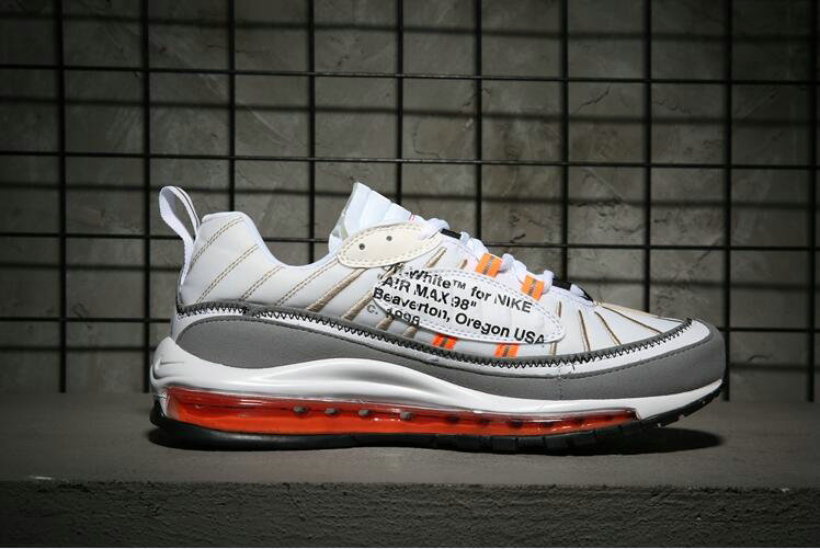 Wholesale Nike Air Max 98 off-white Orange White Grey Come For Sale-www.wholesaleflyknit.com