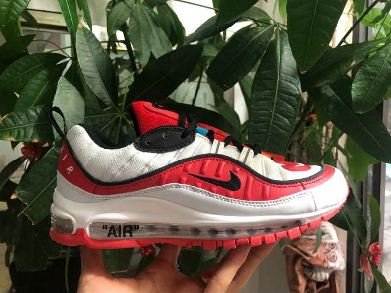 Wholesale Nike Air Max 98 off-white University Red Black White Come For Sale-www.wholesaleflyknit.com
