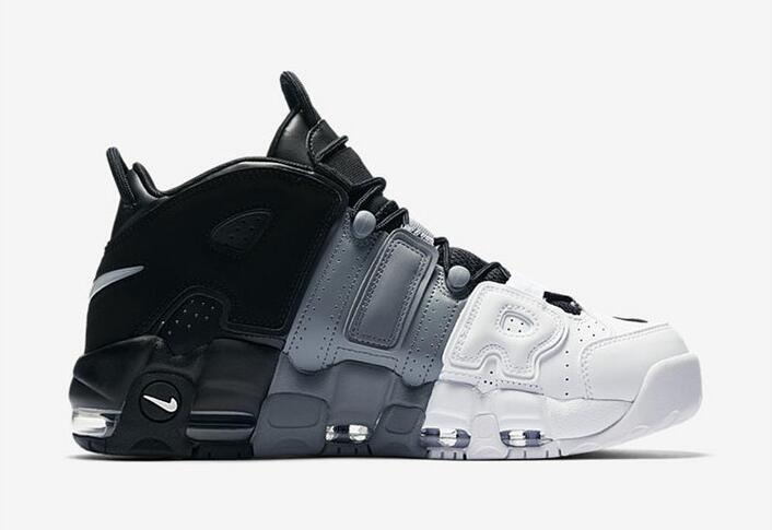 Wholesale Cheap Nike Air More Uptempo Tri-Color Black Cool-Grey-White For Sale - www.wholesaleflyknit.com